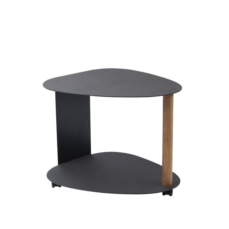 Table basse CURVE L acier noir & cuir Nupo noir Lind DNA