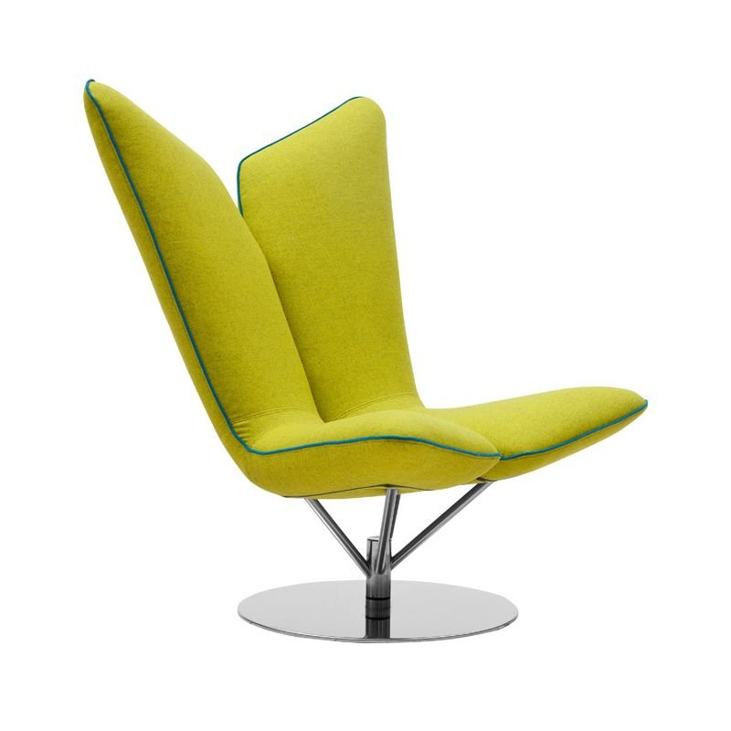 Fauteuil tissu Felt jaune ANGEL Softline, avec biais contrasté turquoise