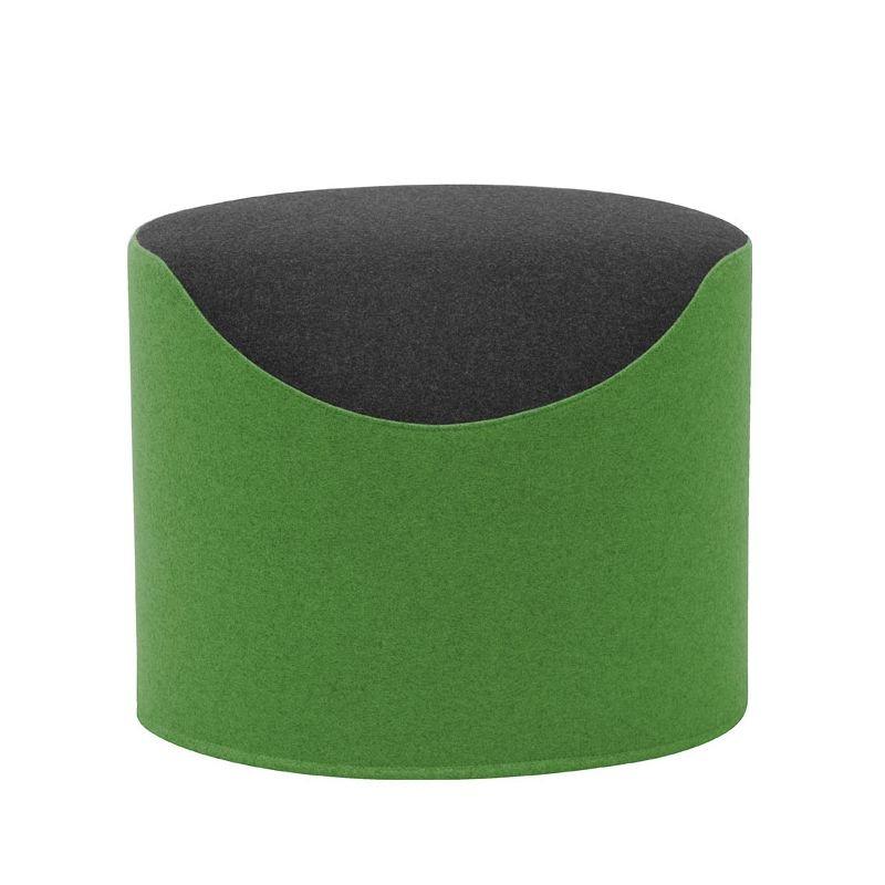 Pouf CORAL Softline, revêtu tissu Felt vert/noir