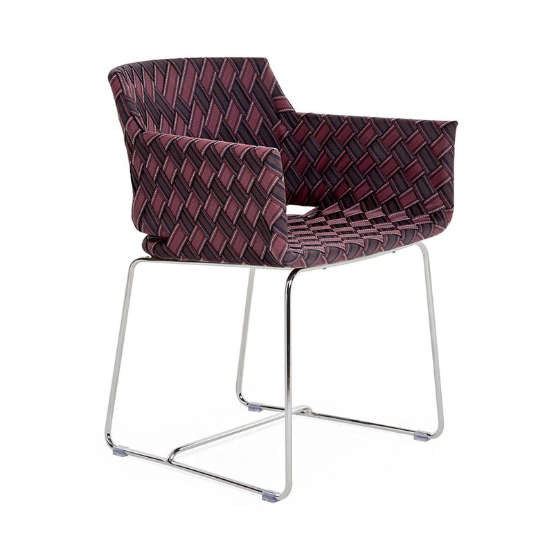 Fauteuil multicolore marron, piètement inox KENTE Varaschin