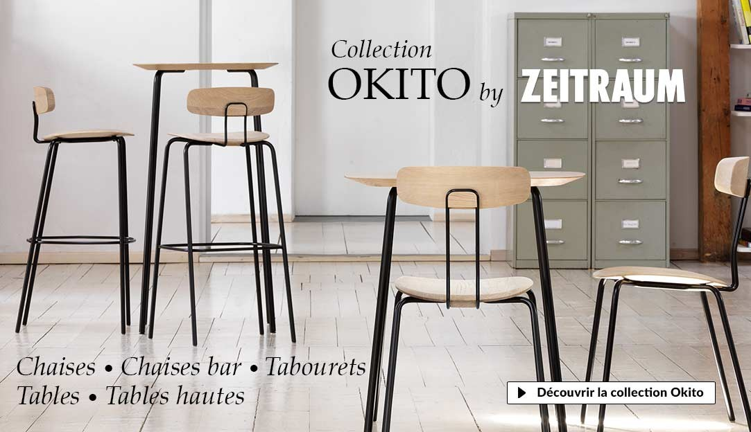Collection Okito Zeitraum, tables et chaises design contemporain en bois ert métal