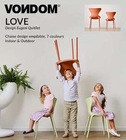 Chaise Love Vondom, design Eugeni Quitllet, modèles enfants et adultes